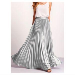 Dresses & Skirts - SILVER PLEATED FULL LENGTH SKIRT **PRICE FIRM**
